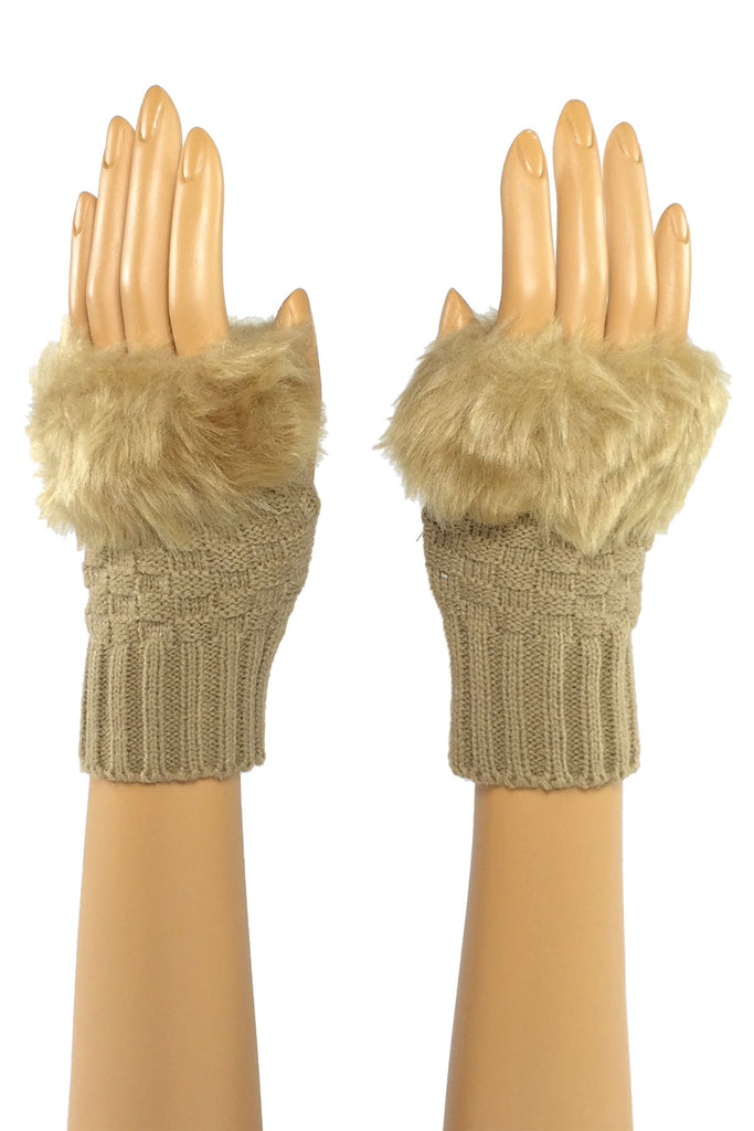 Beige Wrist Length Faux Fur Fingerless Gloves