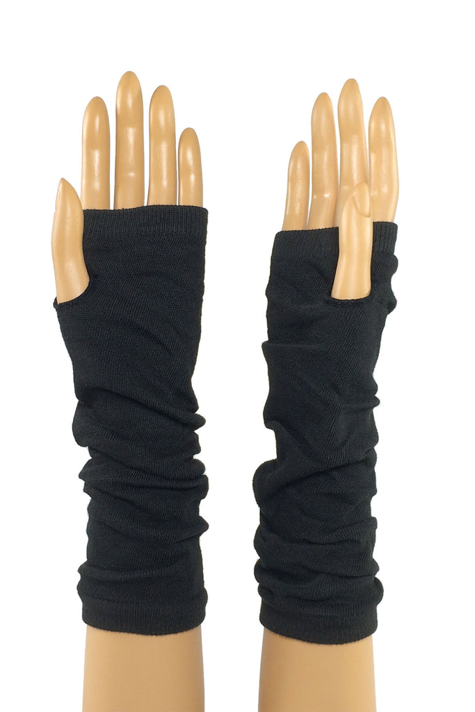 Black Jersey Knit Elbow Length Stretchy Fingerless Gloves