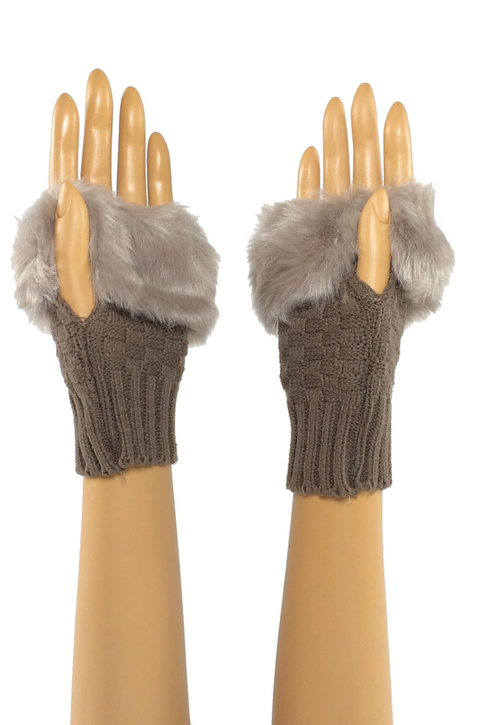 Brown Wrist Length Faux Fur Fingerless Gloves