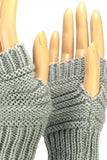 Light Gray Wrist Length Fingerless Gloves with Button Cuff