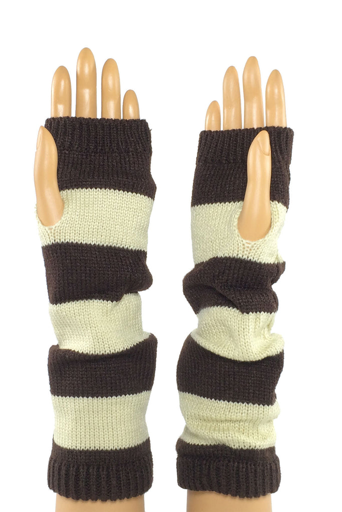 Coffee, Beige Cable Knit Fingerless Glove