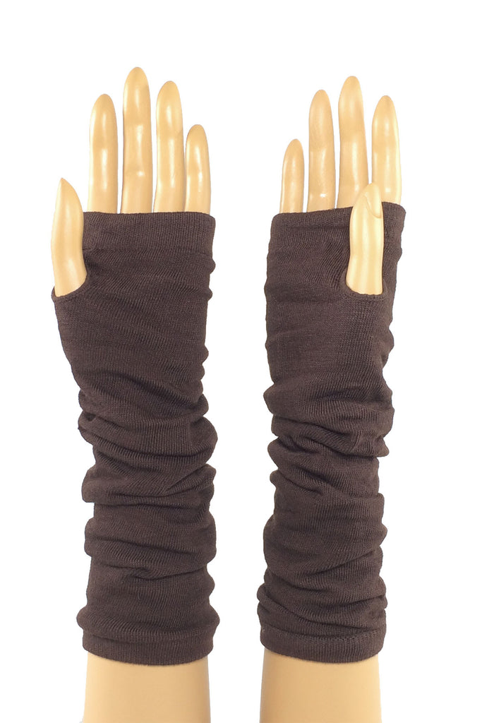 Coffee Jersey Knit Elbow Length Stretchy Fingerless Glove