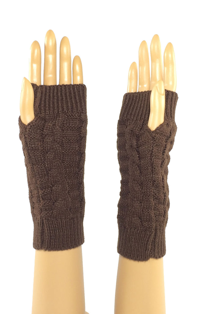 Coffee Mid Length Knitted Fingerless Gloves