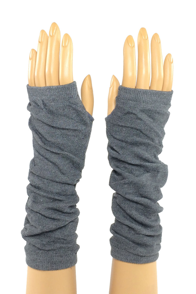 Dark Gray Jersey Knit Elbow Length Stretchy Fingerless Glove
