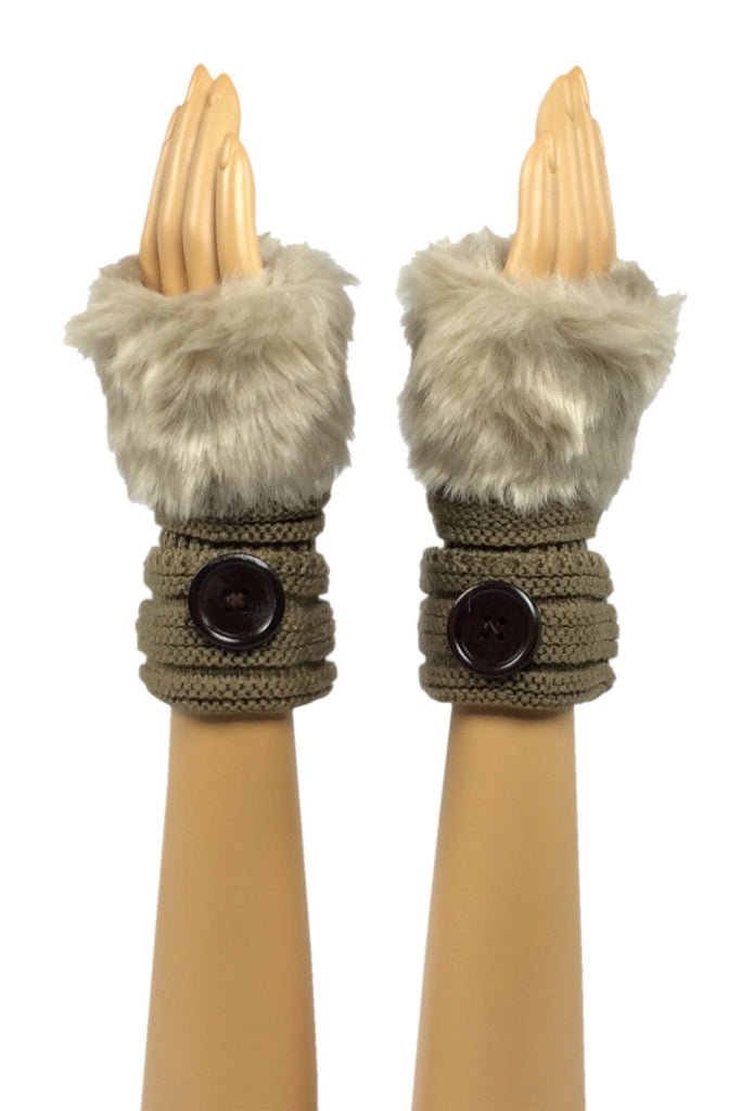 Camel Wrist Length Faux Fur Fingerless Gloves with Button Cuff