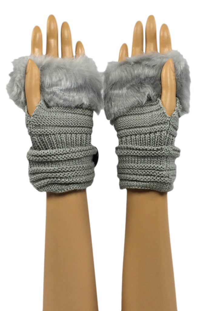 Light Gray Wrist Length Faux Fur Fingerless Gloves with Button Cuff