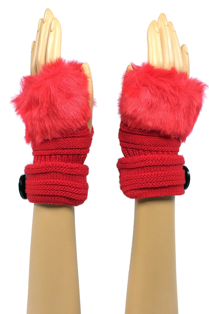 Red Wrist Length Faux Fur Fingerless Gloves with Button Cuff