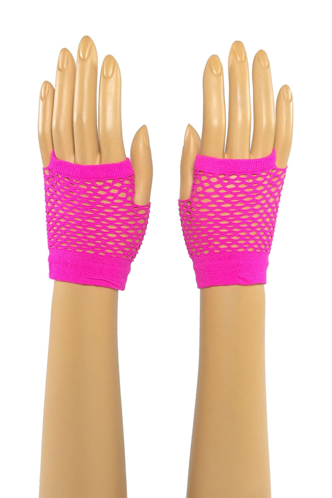 Hot Pink Wrist Length Fishnet Fingerless Gloves
