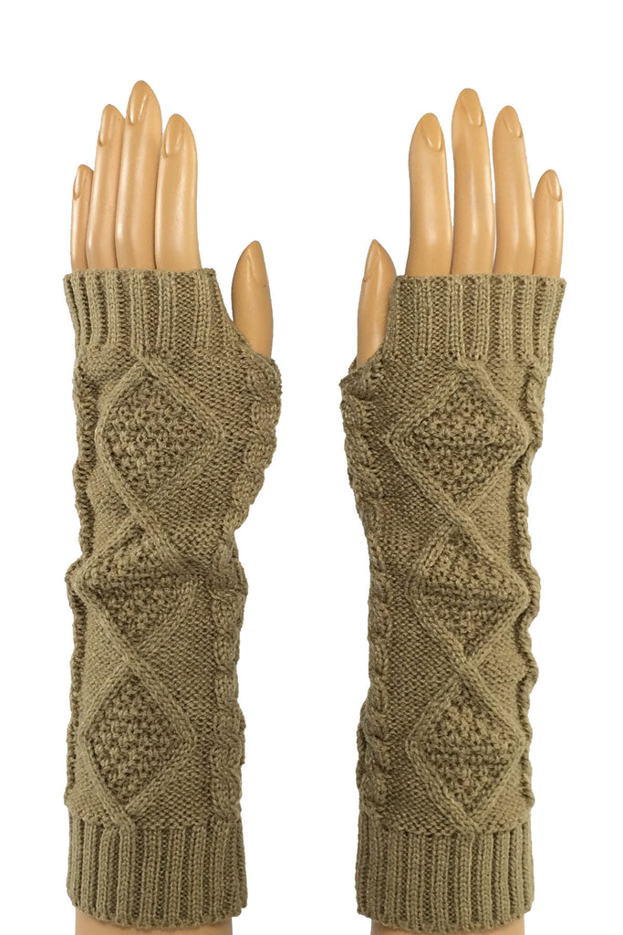 Khaki Elbow Length Fingerless Gloves