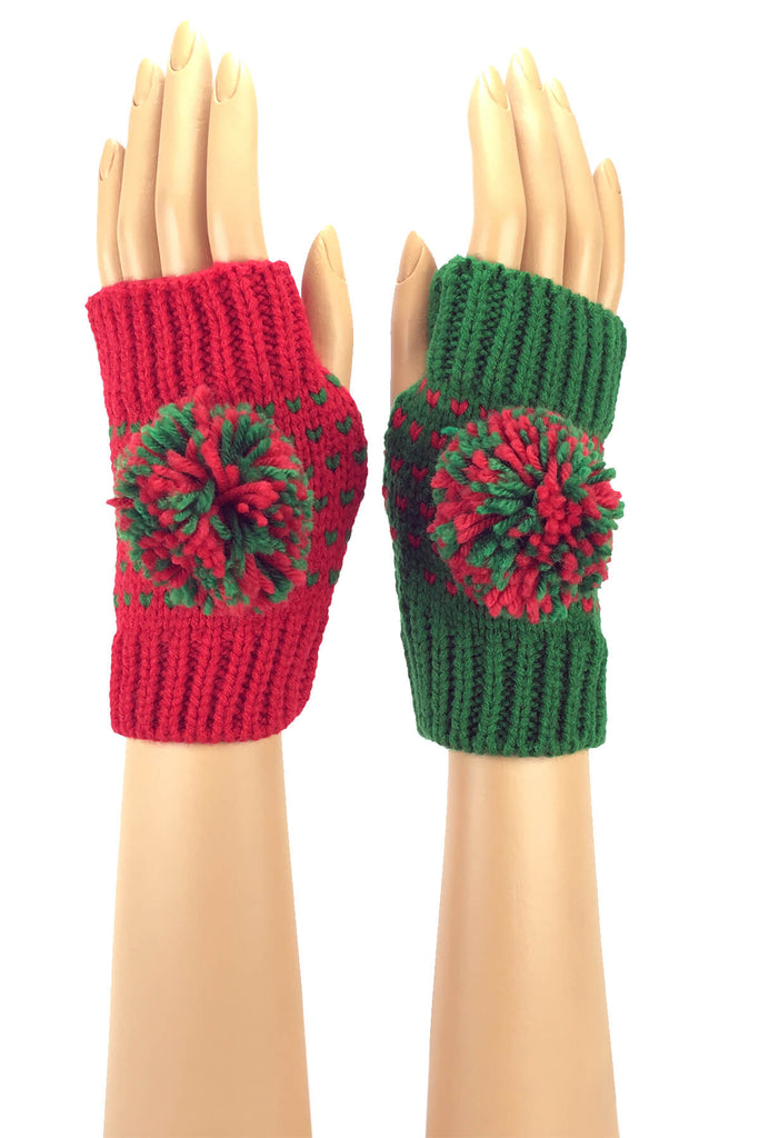 Red and Green Wrist Length Pom Pom Knit Fingerless Gloves