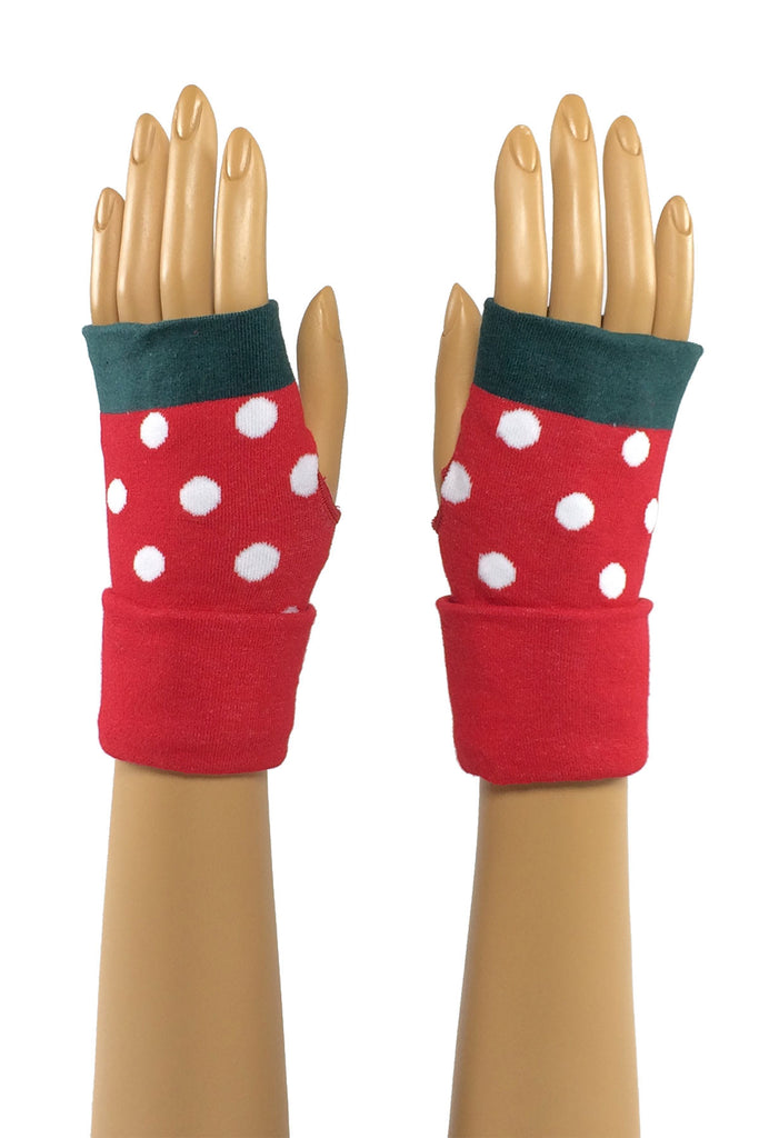 Red/Teal Green Round Dot Printed Wrist Length Fingerless Gloves