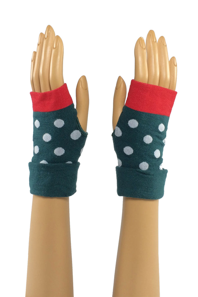 Teal Green/Red Round Dot Printed Wrist Length Fingerless Gloves