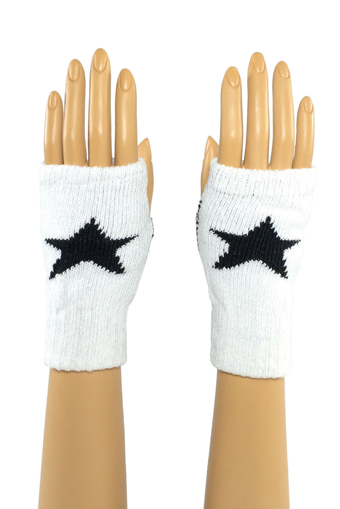 White/Black Star Wrist Length Fingerless Gloves