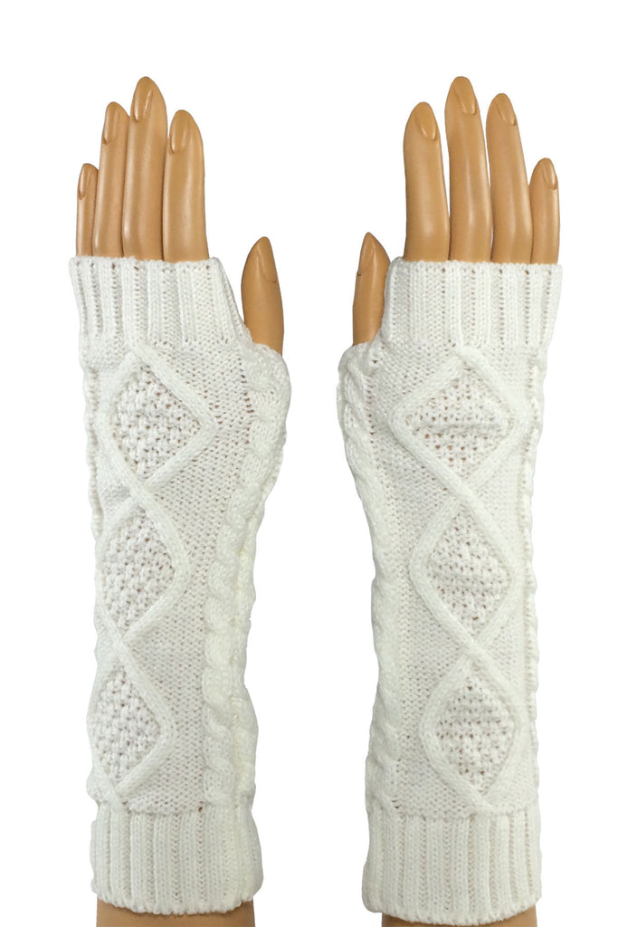 White Elbow Length Fingerless Gloves