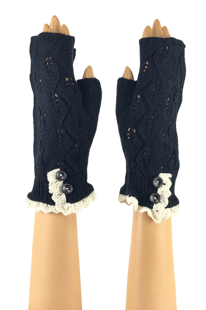 Black Wrist Length with 2-Button Lace Cuff Fingerless Gloves