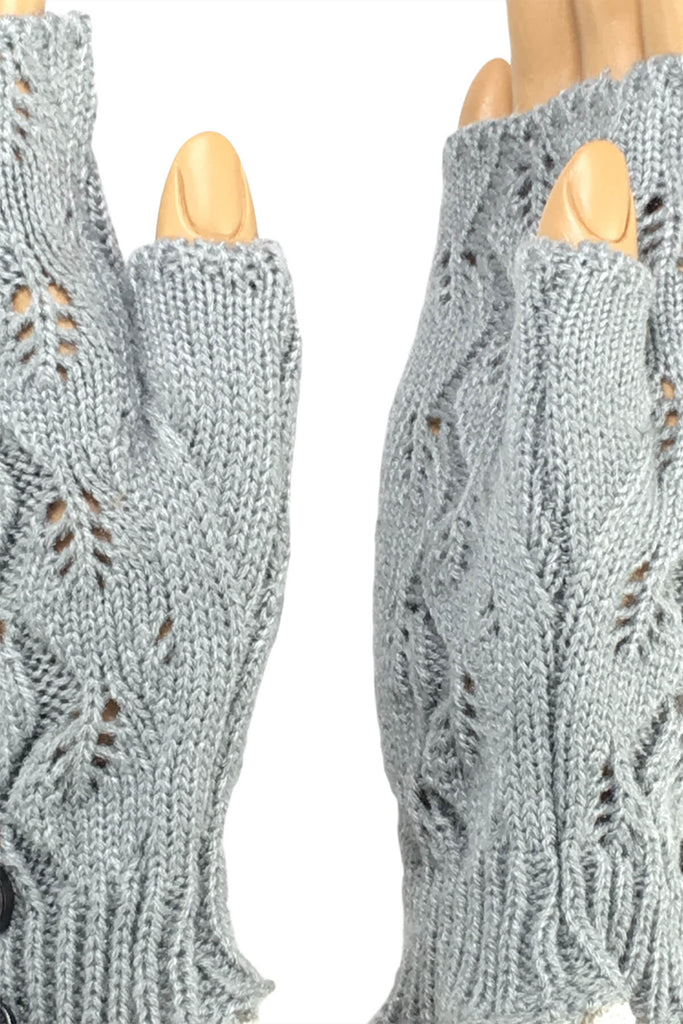 Light Gray Wrist Length with 2-Button Lace Cuff Fingerless Gloves