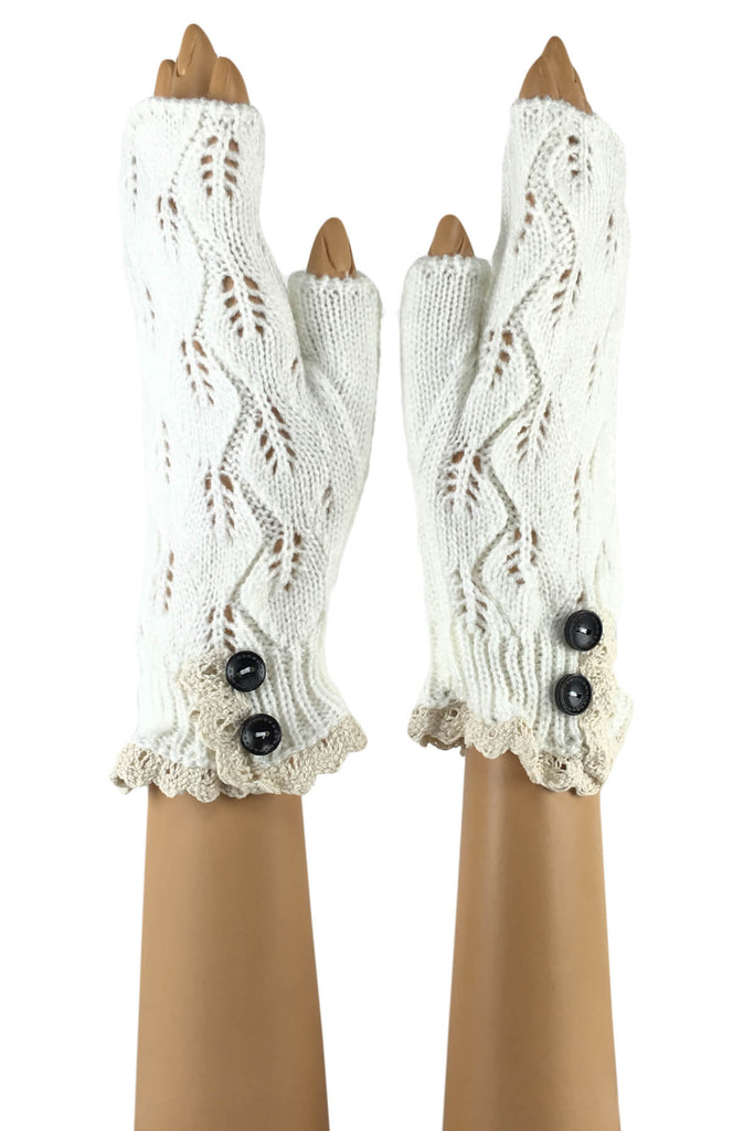 White Wrist Length with 2-Button Lace Cuff Fingerless Gloves