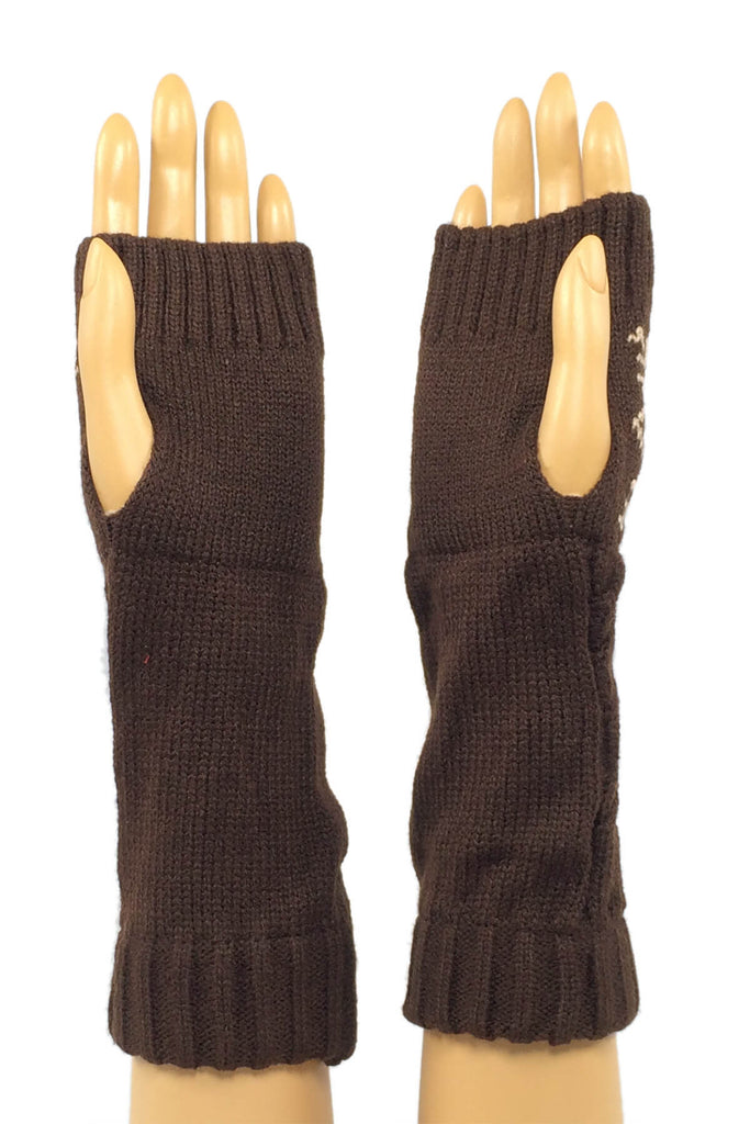 Brown and Tan Classic Snowflake Mid Length Fingerless Gloves