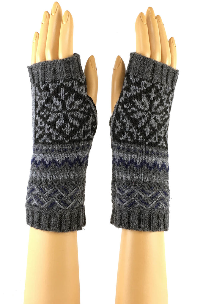 Gray and Black Classic Winter Pattern Wrist Length Fingerless Gloves