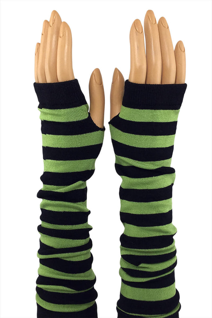 "Green and Black Stripe 15"" Elbow Length Jersey Knit Fingerless Gloves"