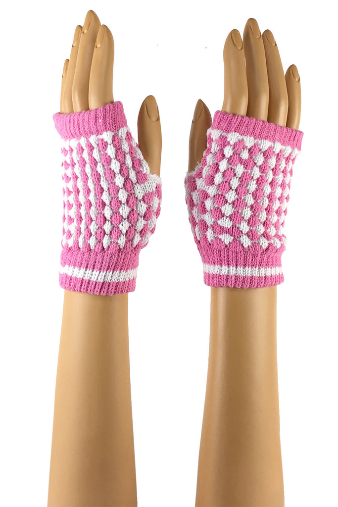 Light Pink and White Checkered Wrist Length Knitted Fingerless Gloves