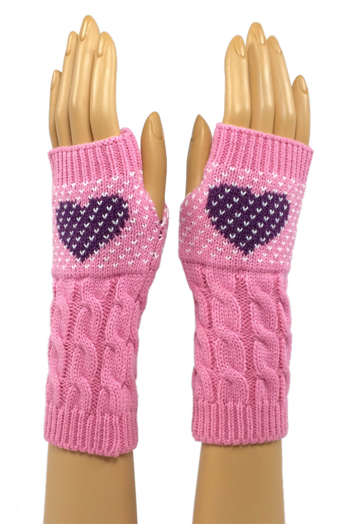 Pink with Purple Heart Mid Length Fingerless Gloves
