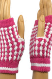 Hot Pink and White Checkered Wrist Length Fingerless Gloves