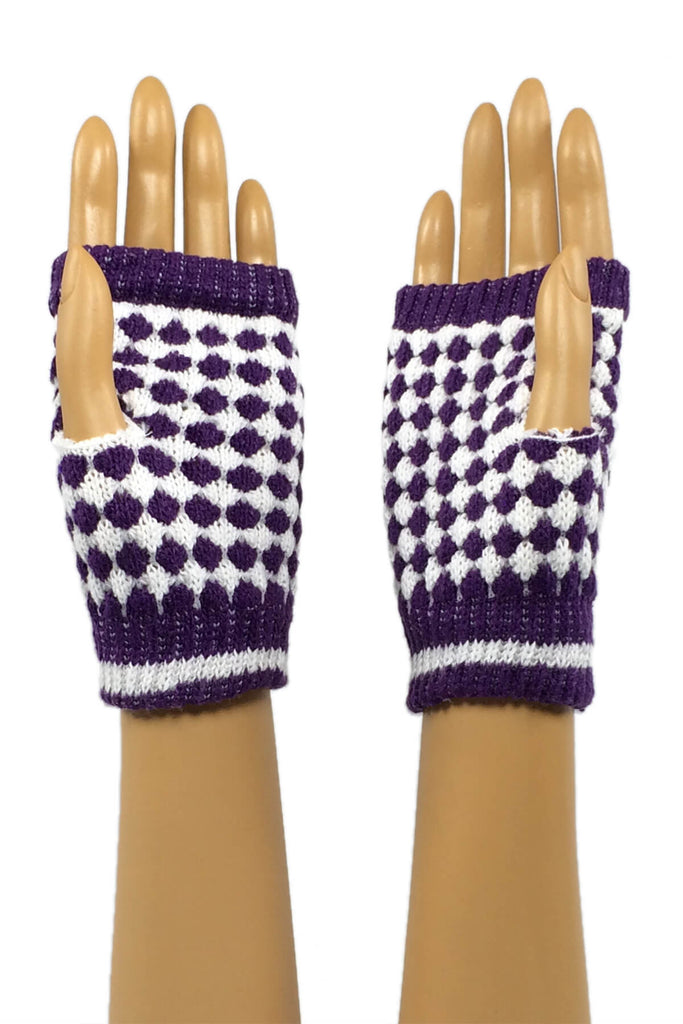 Purple and White Checkered Wrist Length Fingerless Gloves