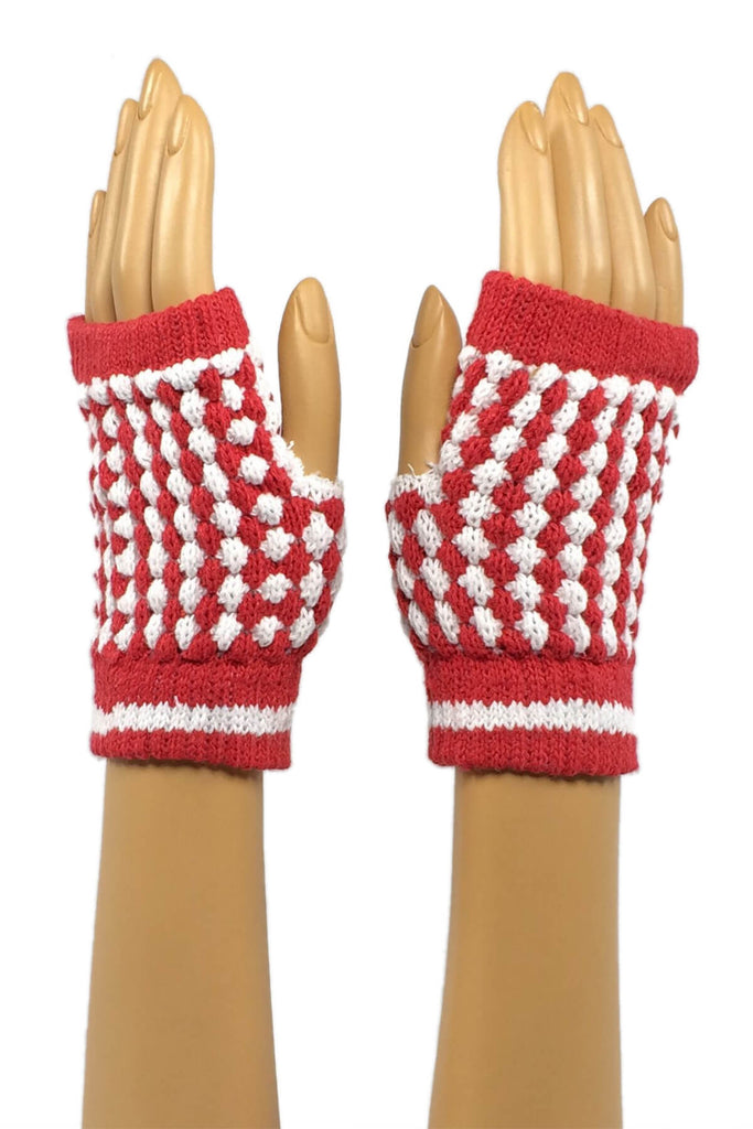 Red and White Checkered Wrist Length Fingerless Gloves