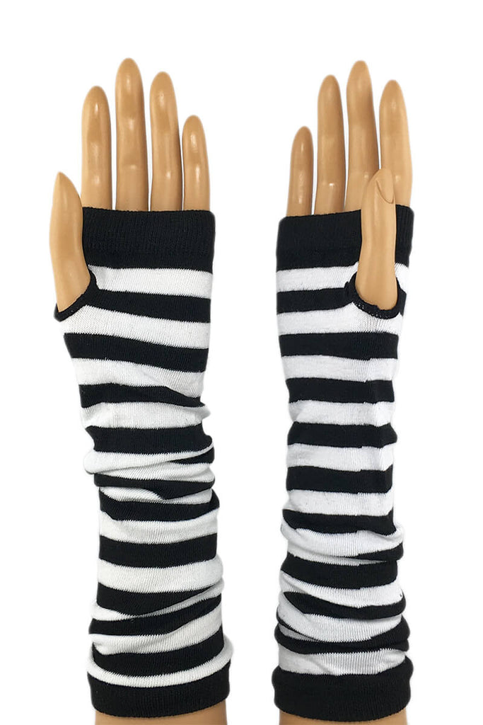 "White and Black Stripe 12"" Elbow Length Jersey Knit Fingerless Gloves"
