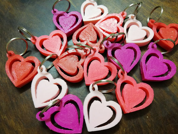 Valentine Hearts 3D Printed key-tags