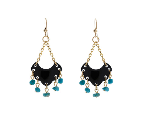 Mini Chandelier Earrings with Turquoise by Bellissima