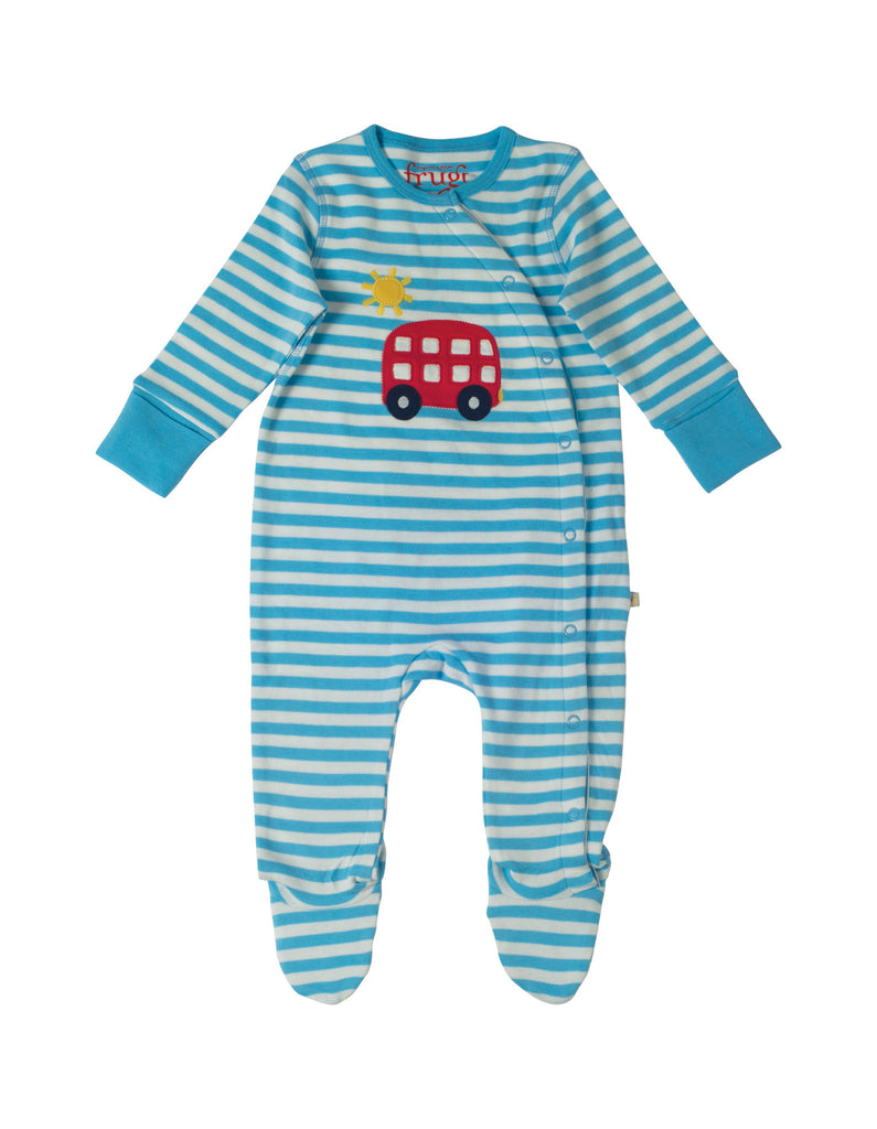Swoop Babygrow - Blue Stripe/Bus - Frugi - Jurnie - 1