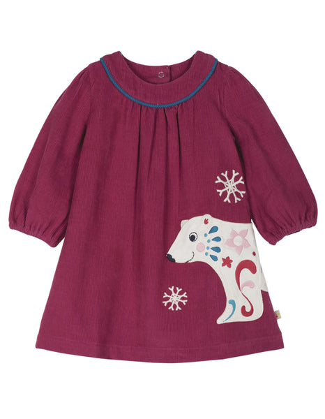 Little Isla Cord Dress - Berry/Bear - Frugi - Jurnie - 1