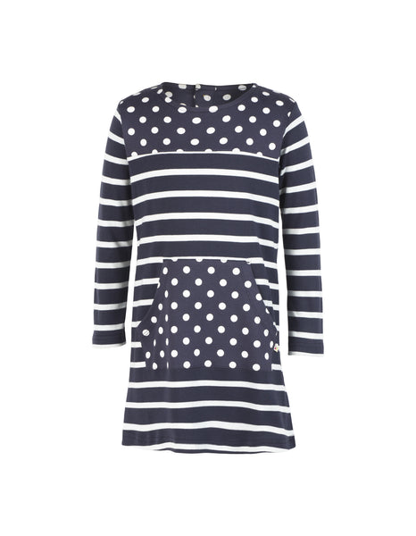 Thea Tunic Dress - Navy Breton - Frugi - Jurnie - 1