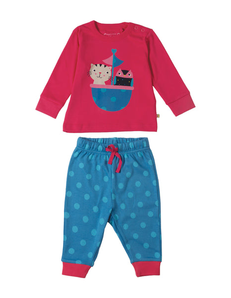 Little Long John PJs - Raspberry Owl and Cat - Frugi - Jurnie - 1