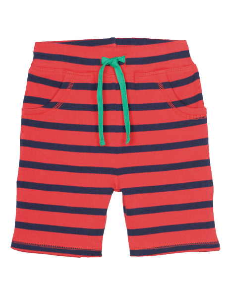 Little Stripy Shorts - Tomato/ Navy - Frugi - Jurnie - 1