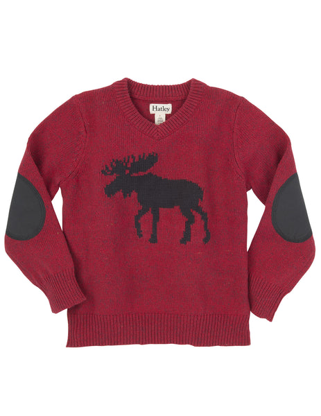 Moose V-Neck Sweater with Elbow Patches - Hatley - Jurnie - 1