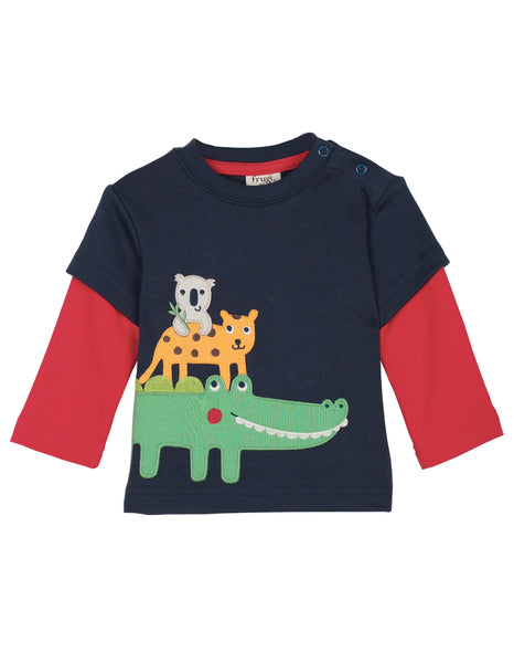 Little Look-out top - Navy/ Jungle - Frugi - Jurnie - 1