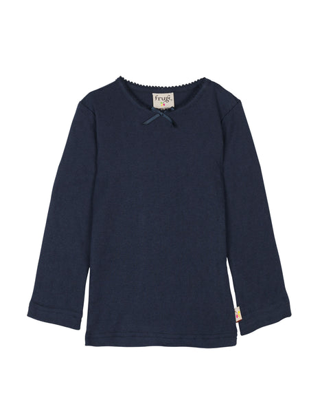 Mia Pointelle Top -Navy - Frugi - Jurnie
