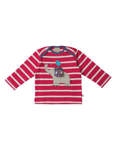 Bobby Applique Top - Elephant - Frugi - Jurnie - 1