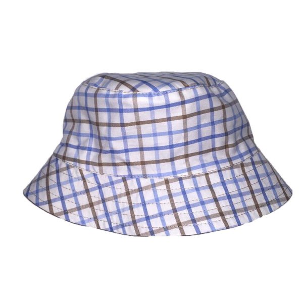 Reversible Sunhat - Blue/Brown Check - Ruth Lednik - Jurnie - 1