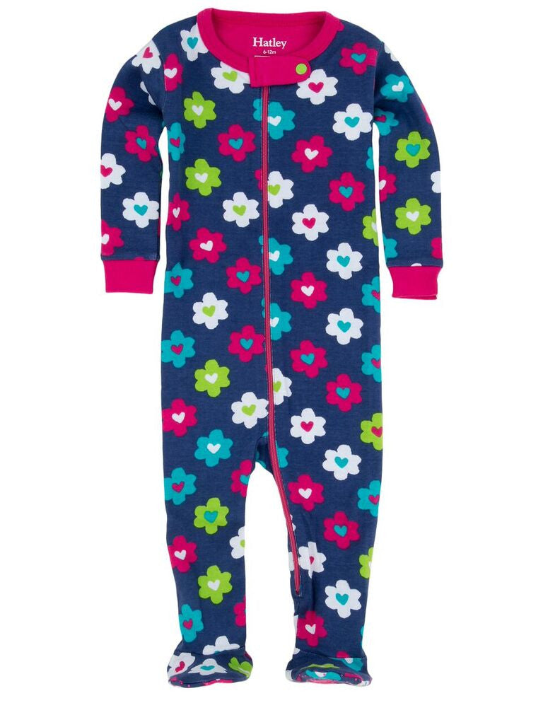 Flower Hearts Footed Coverall - Hatley - Jurnie