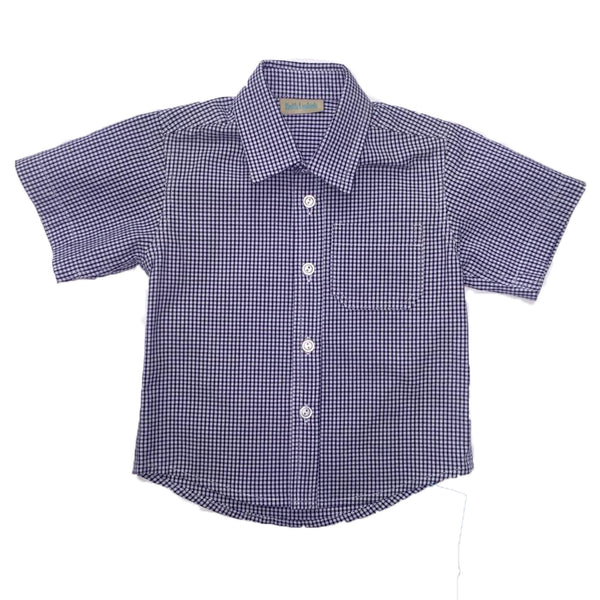 Navy Small Check Short Sleeve Shirt - Ruth Lednik - Jurnie