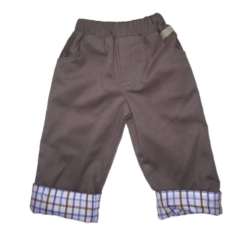 Reversible Trousers - Blue/Brown cotton check - Ruth Lednik - Jurnie - 1