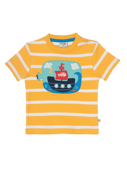 Little Fal Applique T-shirt - Bumble Bee/Boat - Frugi - Jurnie - 1