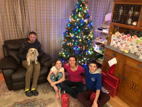 Zora and her family for christmas celebrating a great year for the small, local family business, there cute dog and being together.