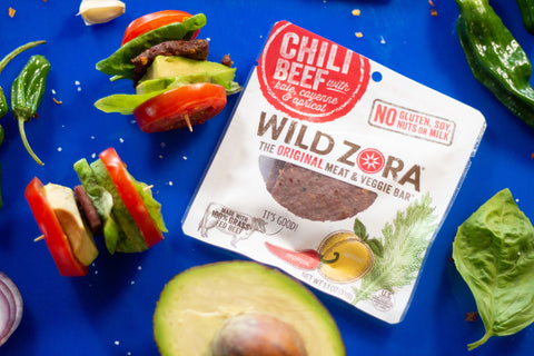 Wild Zora Chili Beef Bar with Avocado Basil Tomato Skewer