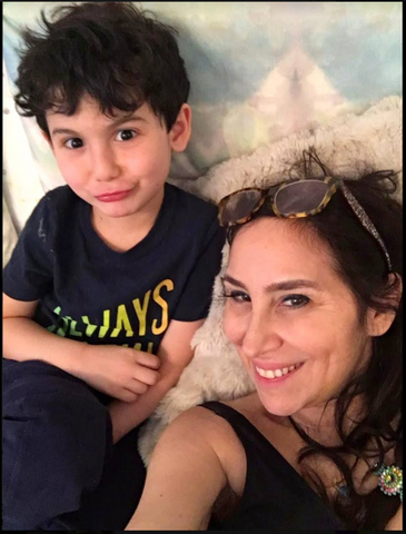Karen Salmansohn with her son