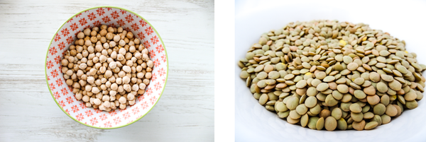 Lightly patterend ceramic bowl filled with garbanzo beans and a white ceramic bowl of dry green lentils.